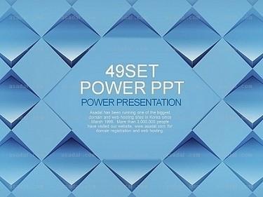 蓝色立体灵动正方形图案拼接图形简约抽象ppt模板(静)
