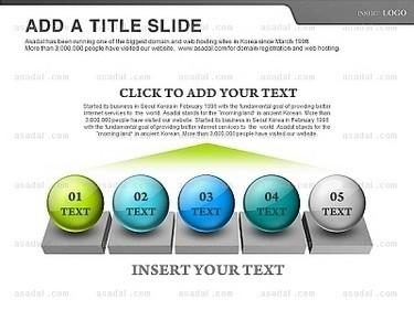 白色背景蓝色绿色灰色球状标题半透明箭头并列ppt图表