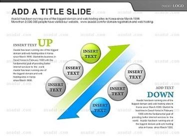 白色背景灰色绿色蓝色圆形标题平行箭头递进ppt图表