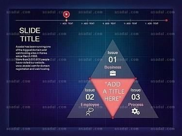 蓝色背景粉红色半透明三角金字塔图标组合ppt图表