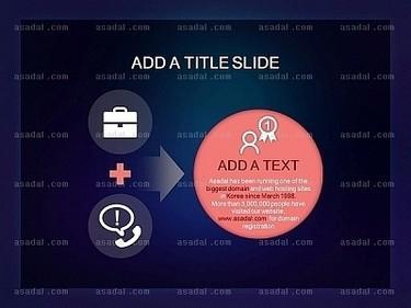 蓝黑色背景粉红色圆形标题框半透明箭头并列ppt图表