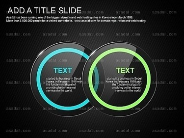 黑色背景蓝色绿色透明圆形标题并列ppt图表