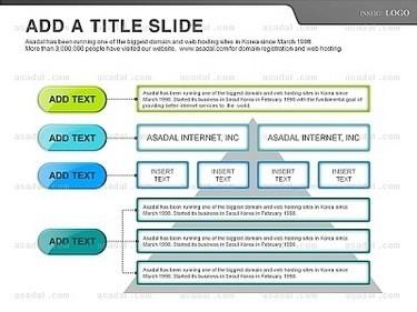 白色背景绿色蓝色细边标题框并列总分关系ppt图表
