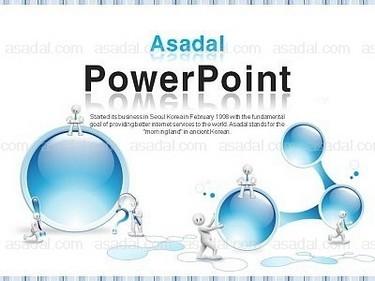 蓝色水晶立体3d小人细胞结构城市商务办公商业ppt