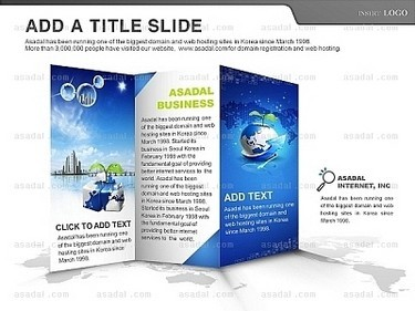 白色背景灰色地图蓝色海洋星空折叠宣传册简洁ppt图表