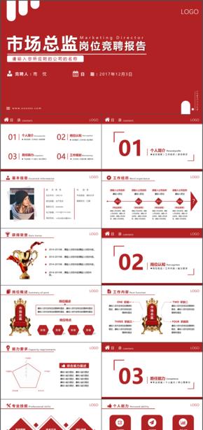 个人简历竞职报告商务红色通用PPT模版【可一键换色】