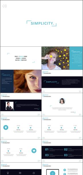 simplity雜志風格淡藍色商務匯報產品宣傳美女簡約畫冊ppt模版