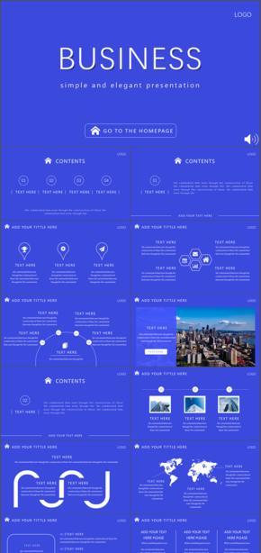 蓝色清新商务简洁网页风格PPT模版