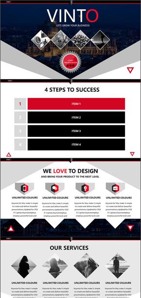 红色简约商务汇报工作总结商业计划书欧美杂志风通用ppt模版