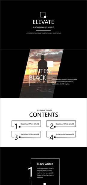 黑白简约欧美风格商务风格清新画册企业杂志风格通用ppt模版