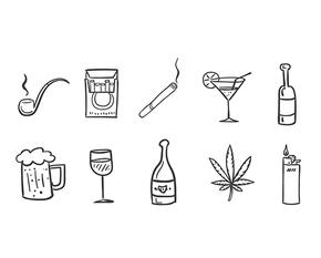 手绘吸烟和饮酒的图标icon