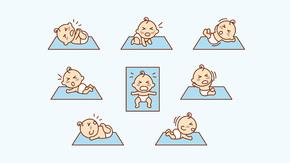 卡通哭泣线性儿童婴儿矢量图标