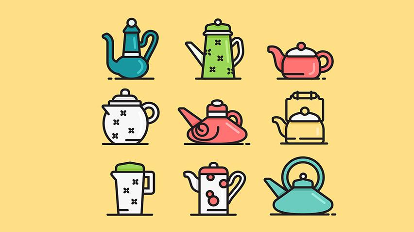 【可爱卡通图片素材】可爱的茶壶矢量图标集下载–演