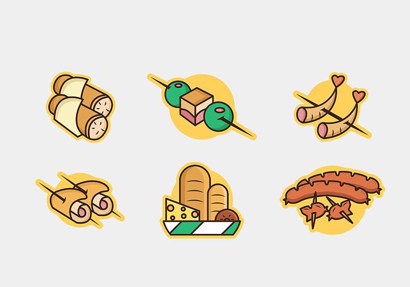 作品标题:烧烤开胃前菜食物矢量图标