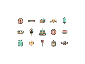 可爱矢量彩色线条糖果图标icon