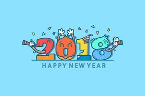矢量欢快庆祝2018数字卡通插画新年背景