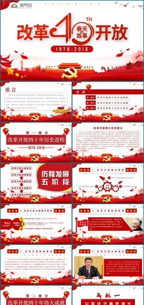2019红色党政风格改革开放40周年作品工作汇报
