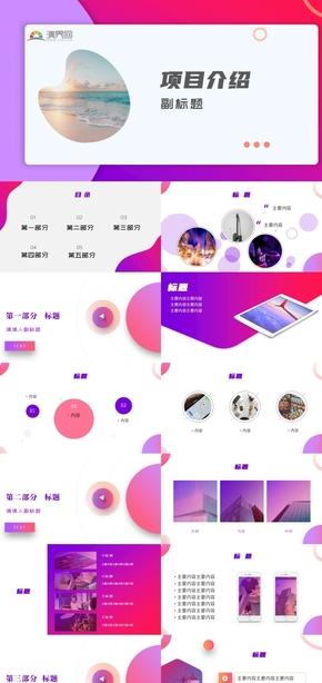 紫紅(hong)雙色漸變(bian)商務項目總結(jie)PPT