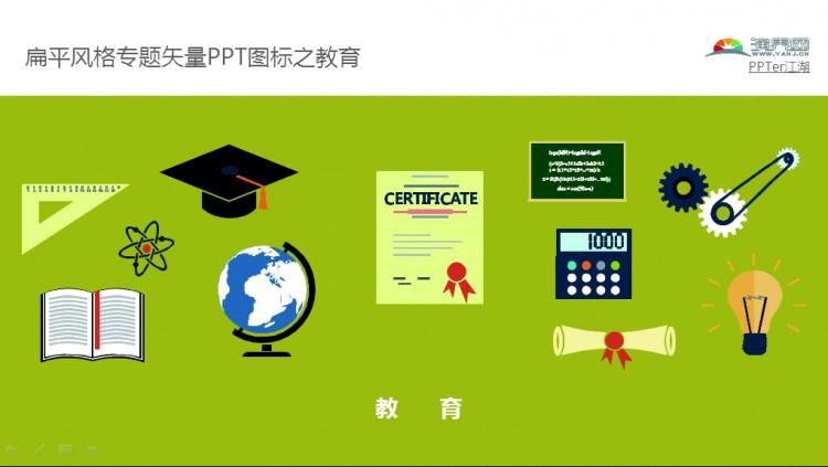 扁平风格专题矢量ppt图标之教育