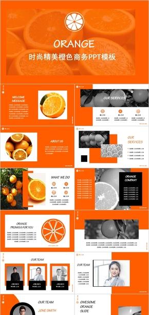 时尚精美橙色商务PPT模板