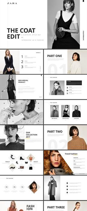 时尚服装发布会女装服饰画册ppt模板 企业发布会ppt演示模板素材