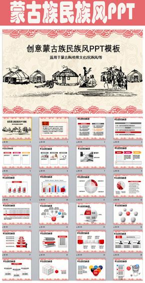 大气创意蒙古族主题民族风ppt动态模板 蒙古风格年终总结ppt模板下载
