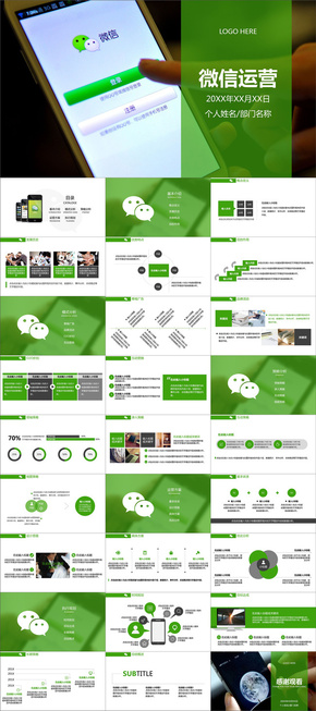 2018新版微信运营管理微信营销策划高级PPT模板 电子商务策划ppt模板