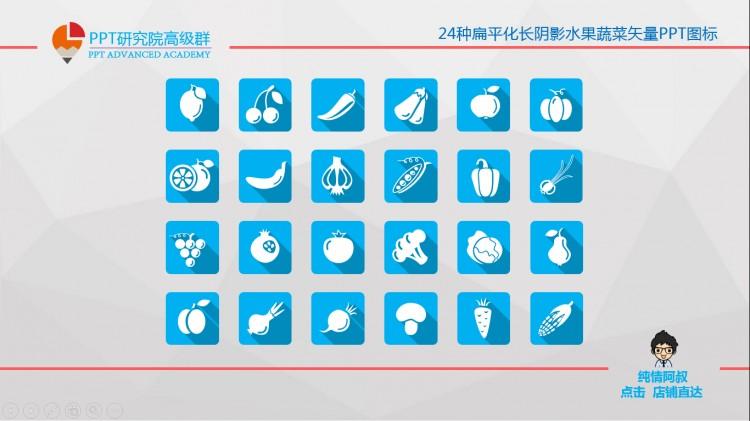 24种扁平化水果蔬菜矢量ppt图标