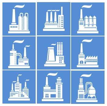 简约风工厂建筑扁平矢量ppt图标