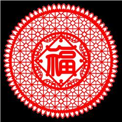 中国风红色窗花剪纸
