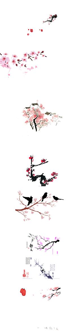 桃花元素图片素材·PNG格式