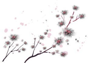 卡通手绘桃花枝