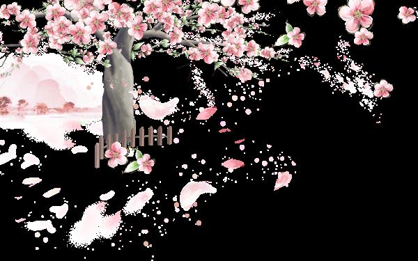 作品标题:手绘桃花树装饰图案