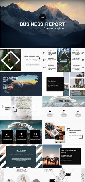 创意欧美风杂志风PPT实用汇报模板