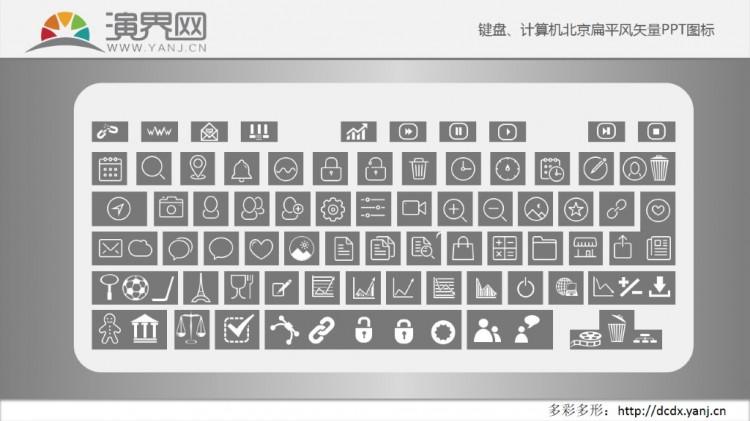 键盘,计算机北京扁平风矢量ppt图标