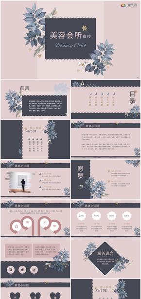 粉色浪漫女性美容医疗理疗SPA会所宣传介绍推广PPT模板