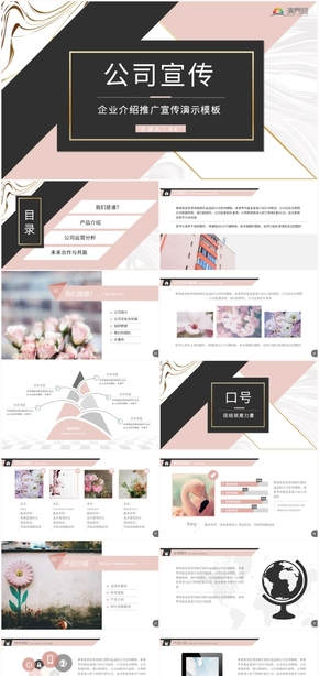 2019粉色創意時尚企業介紹公司宣傳推廣商務匯報keynote模板