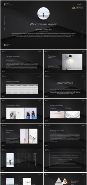 黑色欧美现代简约通用模板高端商务工作报告演讲PPT模板