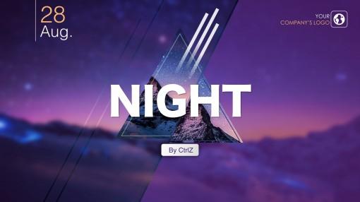 【动态】静谧夜空实用keynote模板