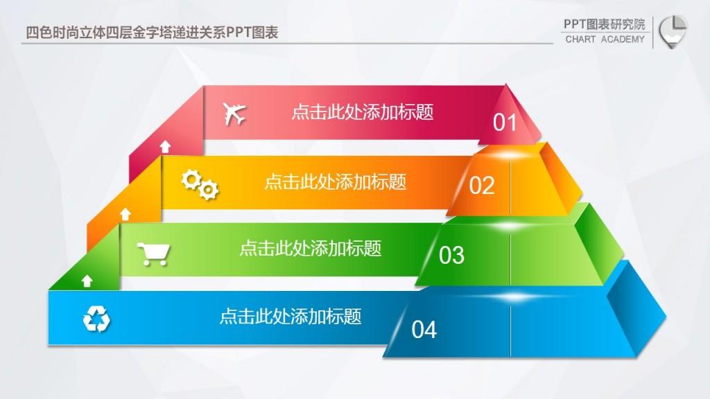 四色时尚立体四层金字塔递进关系ppt图表