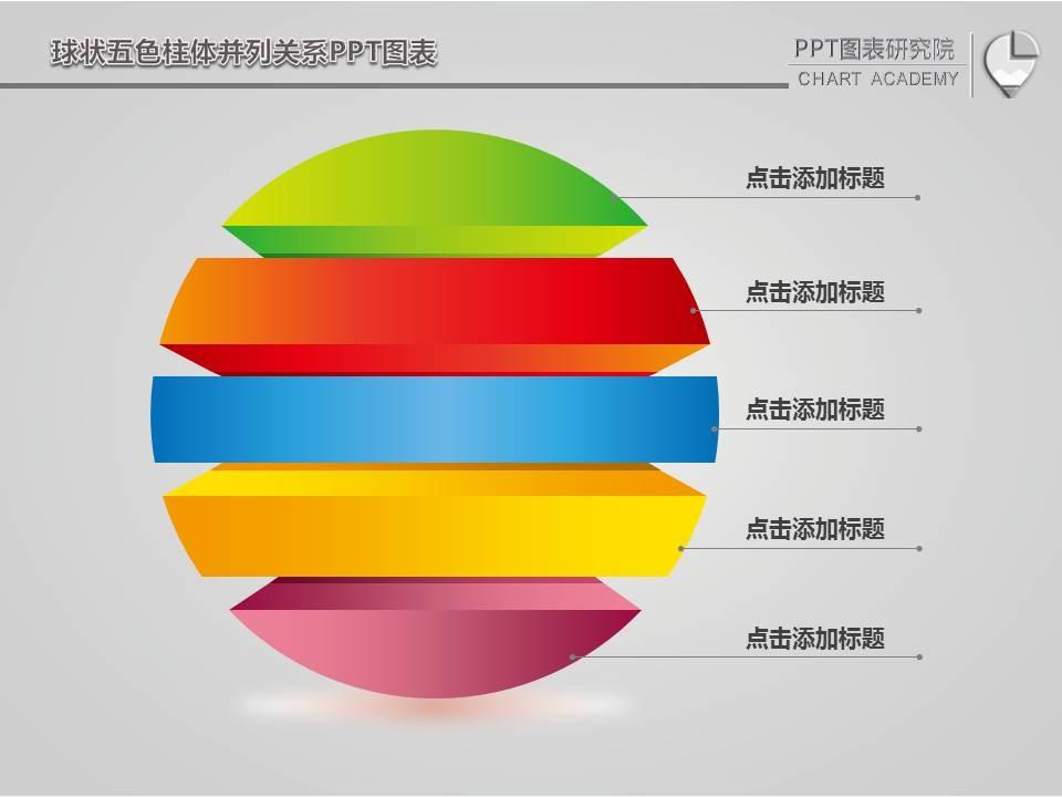 球状五色柱体并列关系ppt图表