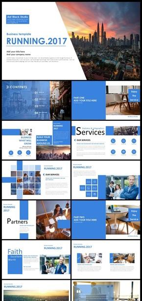 清新蓝画册风工作总结企业介绍PPT模板