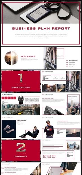 红色创意简约商务展示公司介绍PPT模板