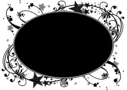 ps蒙版花纹黑白圆形相框素材