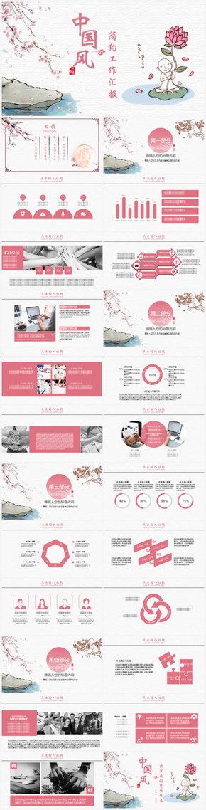 粉色中国风工作总结汇报述职报告PPT模板