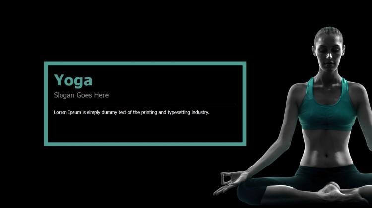 黑色调可编辑ppt运动瑜伽模板