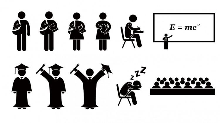 矢量校园毕业剪影图标