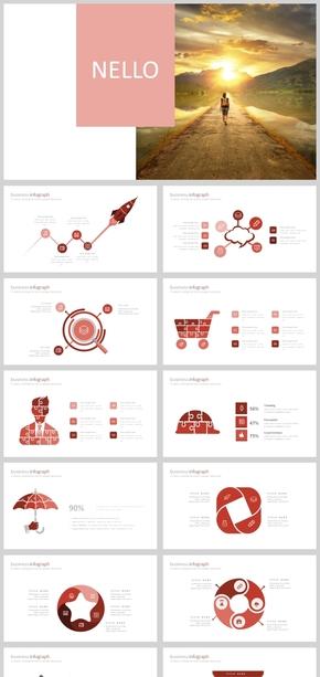 2018红色大气简约商务汇报信息图表PPT模板