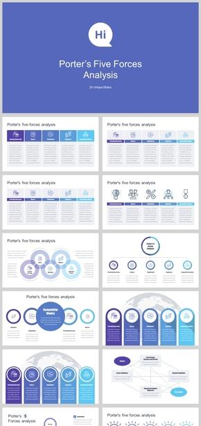 2018蓝色五项关系信息图表PPT模板
