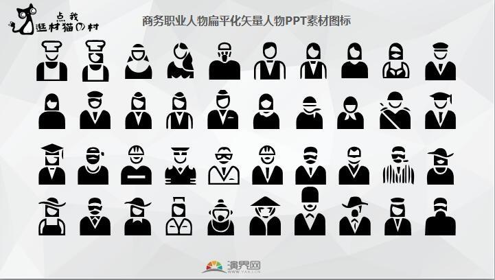 商务职业人物扁平化矢量人物ppt素材图标